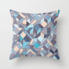 Shifitng Geometric Pattern in Blue Throw Pillow