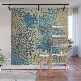 Floral Decor Pattern, Petal Blooms, Blue and Gold Wall Mural
