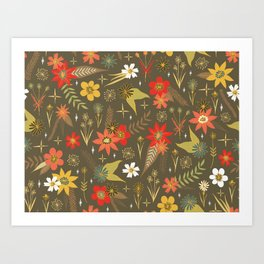 retro floral in funky colors Art Print