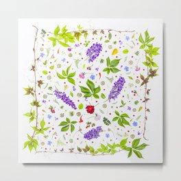 Leaves and flowers pattern (33) Metal Print