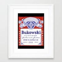 bukowski Framed Art Prints featuring bukowski by Mathiole