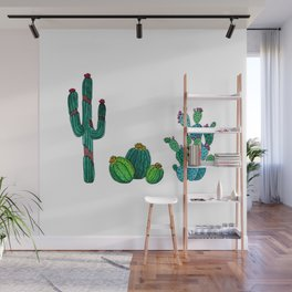 Gouache Watercolor cactus white background Wall Mural