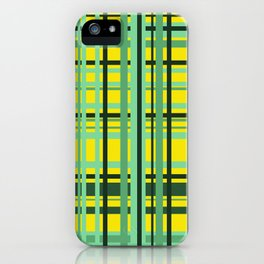 Checkered yellow green Design iPhone Case