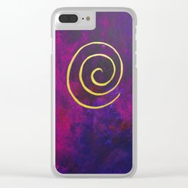 Philip Bowman Infinity Deep Purple And Gold Abstract Modern Art Painting Clear iPhone Case