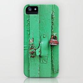 Lock on a Green Door iPhone Case