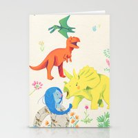 dinosaurs Stationery Cards featuring Dinosaurs by Maria Garcia