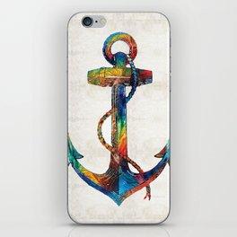 Nautical Anchor Art - Anchors Aweigh - By Sharon Cummings iPhone Skin