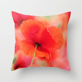 poppies square mural, in closeup Throw Pillow