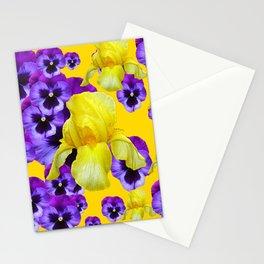 GOLDEN YELLOW IRIS PURPLE PANSY GARDEN Stationery Cards