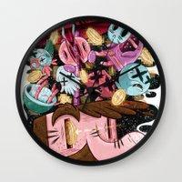 super mario Wall Clocks featuring Super Mario by James Burlinson