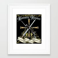 monster hunter Framed Art Prints featuring Monster Hunter by Egregore Design