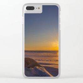 Winter Sunset, Lake Sakakawea, North Dakota Clear iPhone Case