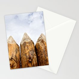 Sharpened Ends Of Rough Wooden Poles Of A Medieval Palisade Stationery Cards