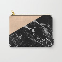 Modern elegant peach black marble color block Carry-All Pouch