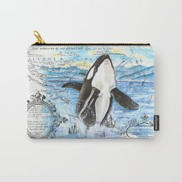Breaching Orca Ancient Map Carry-All Pouch