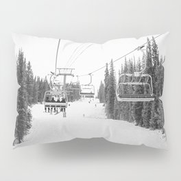 Ski Chair Lift B&W \\ Deep Snow Season Pass Dreams \\ Snowy Winter Mountains Landscape Photography Pillow Sham