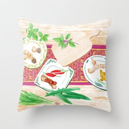 Watercolor Illustration of spices on plates placed on a wooden table Throw Pillow