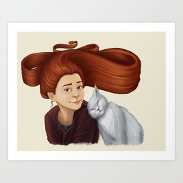 2014-08 Girl with her cat Art Print