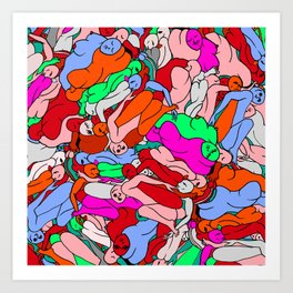 Bodies In Motion - Red Palette Art Print