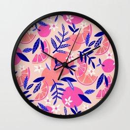 Orange Blooms – Indigo & Pink Wall Clock