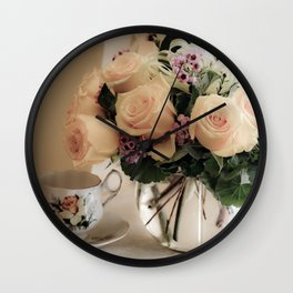 Still Life of Teacup and Flowers Wall Clock