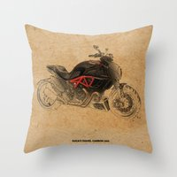 ducati Throw Pillows featuring Ducati Diavel Carbon 2015 by Larsson Stevensem