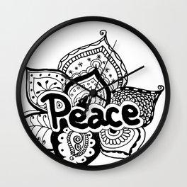 Peace lotus Motto saying mandala floral pattern Wall Clock