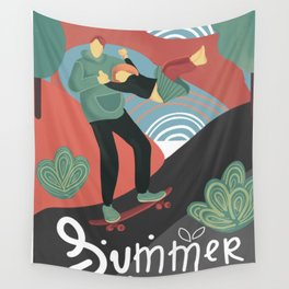 Summer skateboarding Wall Tapestry
