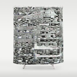 Highly Resolved Ghost (P/D3 Glitch Collage Studies) Shower Curtain