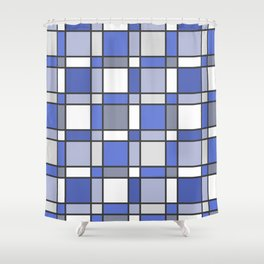 Blue Hue Checkers Shower Curtain