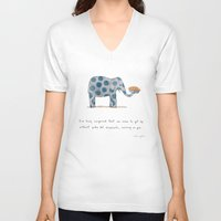 polka V-neck T-shirts featuring polka dot elephants serving us pie by Marc Johns