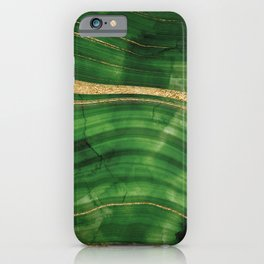 Emerald Green And Gold Malachite Marble iPhone Case
