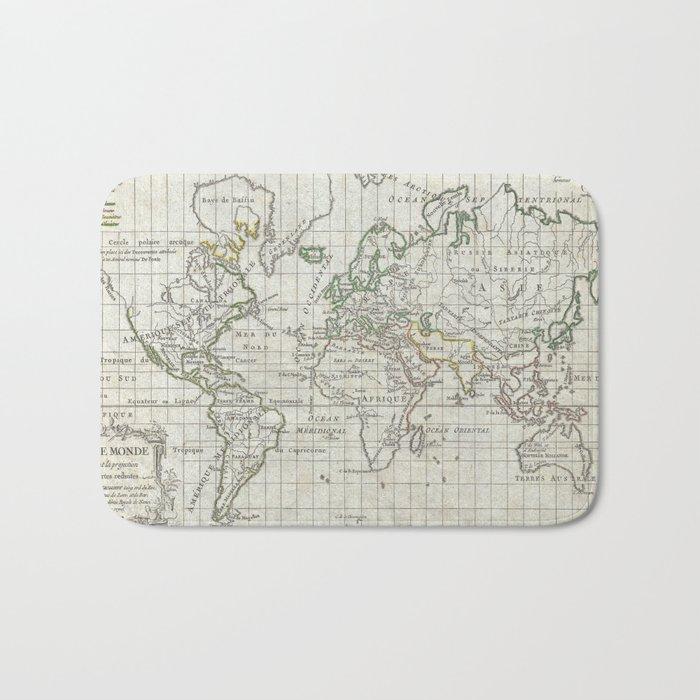 Vintage Map of The World (1784) Bath Mat