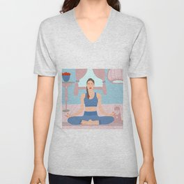 Meditation with a cat Unisex V-Neck