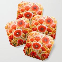 Papaver rhoeas poppy field Coaster