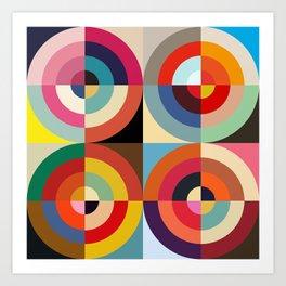 4 Seasons - Colorful Classic Abstract Minimal Retro 70s Style Graphic Design Art Print