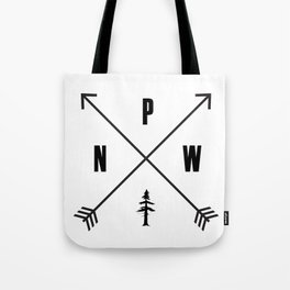 PNW Pacific Northwest Compass - Black on White Minimal Tote Bag