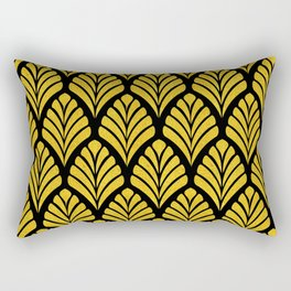 Tangiers Luxurious Black and Gold Art Deco Pattern Rectangular Pillow