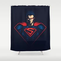 man of steel Shower Curtains featuring Man of Steel by Steven Toang