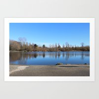 trout Art Prints featuring Trout Lake by RMK Creative