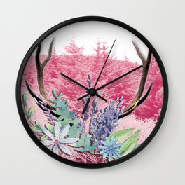 Floral stag antlers Wall Clock