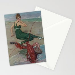 Vintage Lobster Guitar Serenade Illustration (1914) Stationery Cards