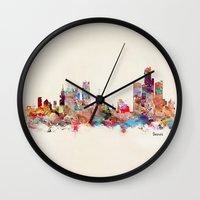 detroit Wall Clocks featuring detroit michigan by bri.buckley