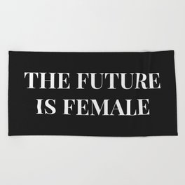 The future is female black-white Beach Towel