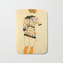 "Egon Schiele ""Standing Woman in a Patterned Blouse"" Bath Mat"