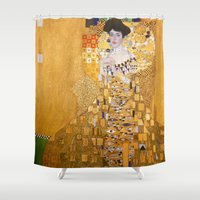 gustav klimt Shower Curtains featuring Gustav Klimt - The Woman in Gold by Elegant Chaos Gallery
