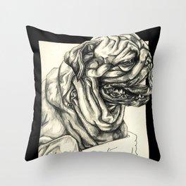 Geometric Black and White Animal portrait Pug Throw Pillow