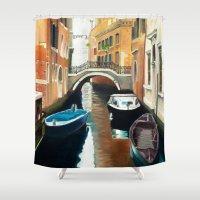 venice Shower Curtains featuring Venice by Sara Clarke