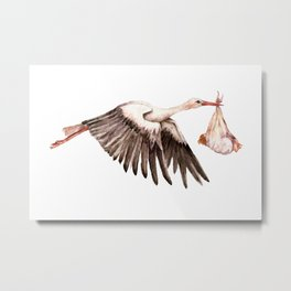Baby on Bird. Cute Stork with a Baby Metal Print
