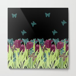 Red tulips in the night. Metal Print